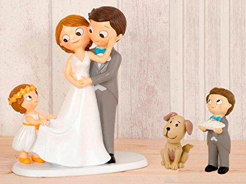 Momparler1870 Figura novios tarta con niña llevando la cola de novia más niño cojín alianzas y mascota