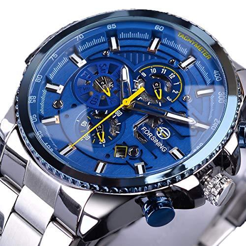 Forsining Herren Armbanduhr, Fashion Business Casual Handaufzug mechanische Uhr mit Edelstahl Armband Bezel Skelett Zifferblatt,colorC