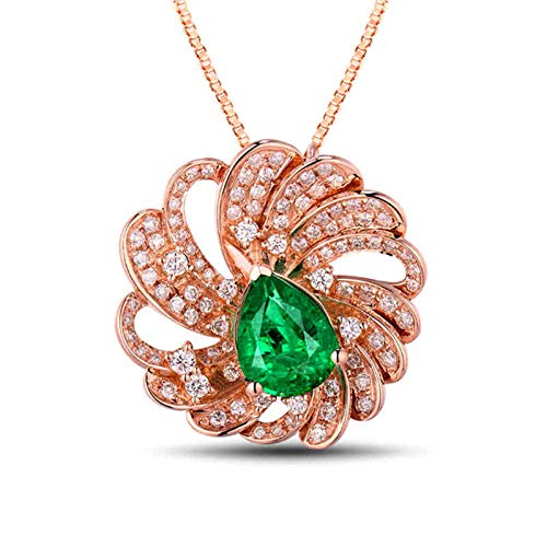 Aartoil 18k rose gold Pendant Necklace for Women Flower Pendant Christmas Valentine's Day Gift with Silver Chain(Main Stone: 1.5ct emerald)