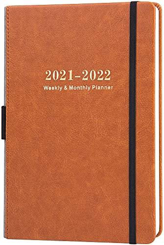 Kalender 2021-2022 - Akademischer Wochen und Monats Kalender mit Kalender Aufklebern, von Juli 2021 - Juni 2022, Dickem Premium Papier A5 mit Stifthalter, Innentasche und 88 Notizenseiten