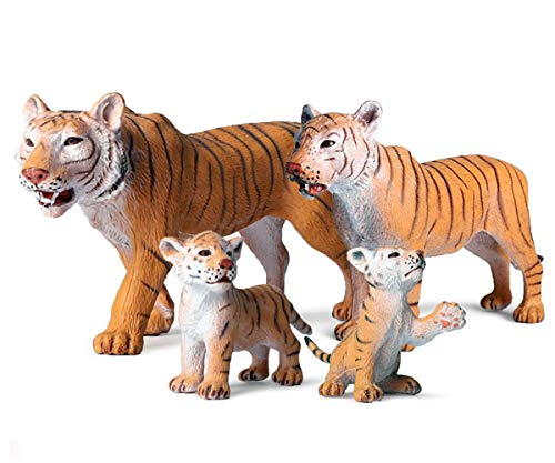 Gemini& Genius Realistic Animal Figurines with Cub  Safari Animals Family Playset Figures  Educational Wildlife World Models  Cake Toppers Christmas Birthday Gift for Kids (Tigers Family Set)