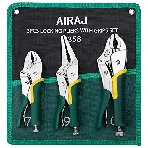 AIRAJ 3 piezas alicates de presion,Alicates de mano antidesgaste de acero CR-V,Mordaza de presion de 220 y185mm, Alicate de 220mm,Para apretar y fijar piezas pequeñas - Profesión Alicates presion