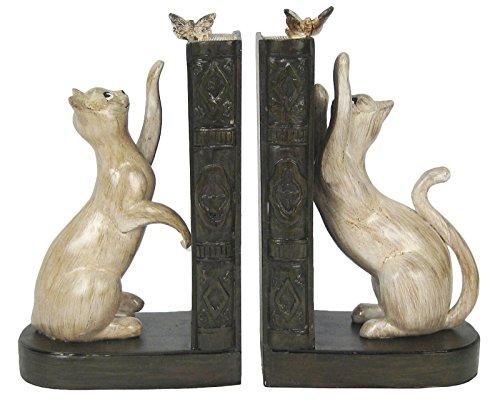 Katze-Schmetterling-Buchstützen 19,5cm Kunstharz Tier-Ornamente