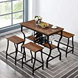 Hombazaar 4-Piece Dining Room Table Set, Counter Height Pub Table Set with Wine Storage and Glass Holder, Industrial Style Kitchen Table with 1 Bench and 2 Stools