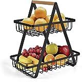 Obstschale mit 2 Etagen, Obstkorb, Aufbewahrung, Gemüseregal, Brotständer für Küche, schwarz