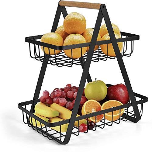 Obstschale mit 2 Etagen, Obstkorb, Aufbewahrung, Gemüseregal, Brot, Ständer für Küche, Schwarz