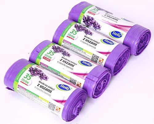 96 Duft-Müllbeutel Lavendel mit Ohren, 35 Liter, 4 Rollen mit 24 Beuteln/Müllsäcke/Lavendel duftend/Super starker/Stella Premium Bags Line