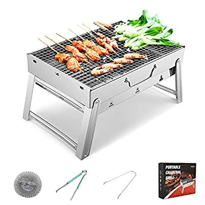Sunkorto 19x11.5x9.5 Inch Folded Charcoal BBQ Grill Set, Stainless Steel Portable Folding Charcoal Barbecue Grill, Barbecue Tool Kits for Outdoor Picnic Patio Backyard Camping Cooking
