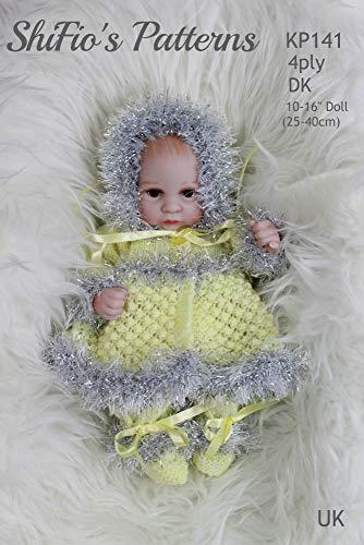 Patrón de punto para ropa de muñecas, chaqueta, pantalones, sombrero y botas, muñeca de 10 a 12 pulgadas y 14 pulgadas a 16 pulgadas, KP141