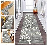 Läufer Teppich Flur Grau Korridor Modern rutschfest Designer, Küchenläufer TeppichLäufer Waschbar für Flur, Schlafzimmer, Wohnzimmer, Breite 60cm/ 70cm/ 80cm/ 90cm/ 100cm/ 110cm ( Size : 110x500cm )