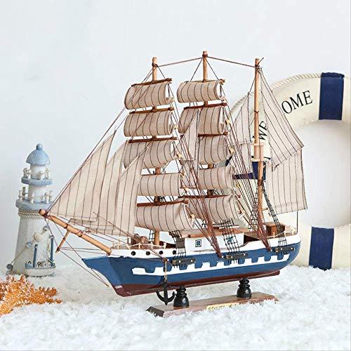 ZLININ Y-longhair - Figura decorativa para el hogar, diseño de barco de vela de madera, estilo mediterráneo, hecho a mano, diseño de barco náutico