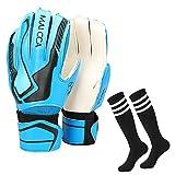 Villavivi 2 Artículos De Portero: Guantes De Portero De Fútbol con Protectores para Dedos + Calcetines De Fútbol para Niños, Niños (Azul, 7)