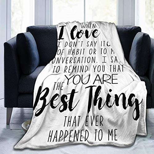 """Fleece Flannel Bed Blanket I Love You and You are Best Thing Microfiber Air Conditioning Quilt Sofa Couch Car Chair Living Room Bedroom Quilt 50""""X40"""" Blanket for Kids"""