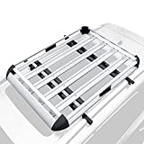 YHAAVALE 50' Car Top Luggage Holder Carrier Basket SUV Heavy Duty Roof Top Luggage Carrier,Silver