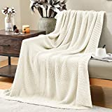 Jinchan Cotton Throw Blanket Cable Knit Throw All Season Blanket for Sofa Couch Living Room Decor Breathable Pure Cotton Soft Warm Travel Blanket 70 x 45 inch White