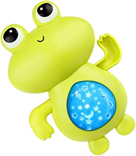 TOYANDONA 4Pcs Frog Wind Up Bath Toy Animal Swimming Pool Floating Bathtub Water Toy with Projection for Kids Baby Toddler...