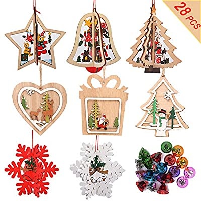 BIMZUC Christmas Ornaments Christmas Wooden Hanging Ornaments, Wooden Pendants Kit with Colorful Bells for Holiday Party Decoration Christmas Tree Decorations Xmas Decor Kids DIY Crafts