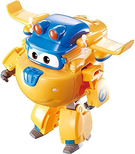 Auldey EU730212 Transforming Construction Donnie - Avión de Juguete y Robots de la Serie Animada Super Wings – Juguete para niños a Partir de 3 años – 12 cm, Color Amarillo