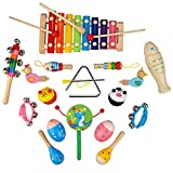 EGFheal Toddler Musical Instruments Set , Wooden Percussion Instruments for Kids Preschool Educational with Xylophone , Rattles and Storage Bag, 11 Types
