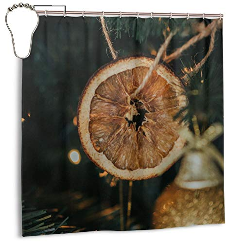 Christmas Tree Decorations Garlands Shower Curtain Bath Curtain for Bathroom Waterproof Polyester with Metal Hooks 72 x 72 inches