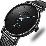 LIGE Men's Watches Fashion Luxury Minimalist Analog Quartz Wrist Watches,Waterproof Dress Black Stainless