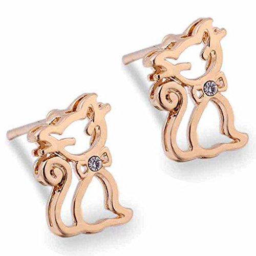 18K Gold ¨¹berzogene Yazilind Charming Runde Clear Cut Zirkonia -Katze zur¨¹ck Bolzen Ohrring-Frauen