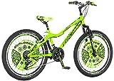 Bicicleta infantil [18 pulgadas verde/20 pulgadas rojo] Regalo para niños a partir de 7 años con soporte para bicicleta (24 pulgadas verde neón)