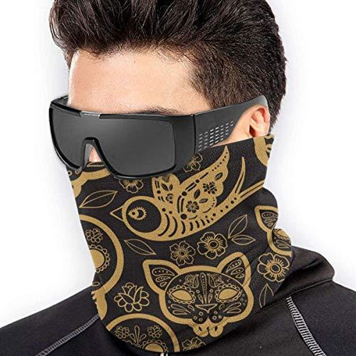 YJWLO Gold Day of the DEA -  Calentador de cuello transpirable y resistente al viento,  antipolvo,  marcas de boca,  cubierta de cuello,  polainas para exteriores,  Mujer,  color negro,  tamaño talla única