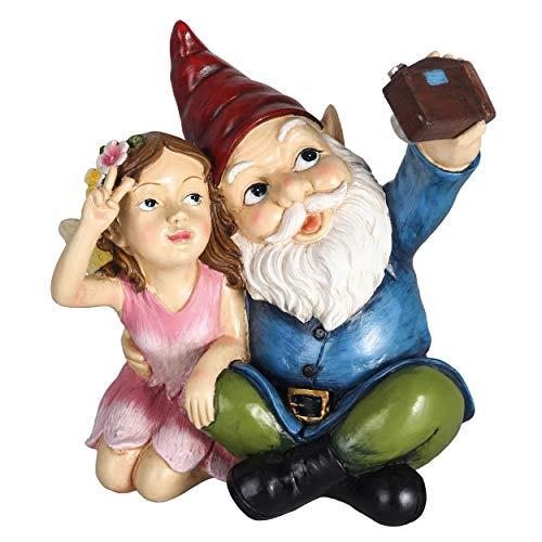 TERESA'S COLLECTIONS Lustige Gartenzwerg mit Fee Wetterfest Selfie Figuren für Außen 19.5cm Zwerg Gartenfiguren aus Kunstharz Gartenwichtel Dekofiguren für Garten Hof Balkon