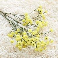 XiZiMi 5個人工シュッコンカスミソウの花 人工花 家の装飾、結婚式、パーティー、オフィス、レストラン用のリアルタッチフラワー Yellow