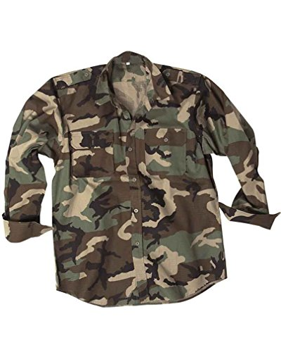 Miltec Chemise US Camouflage Camo Woodland 100% Coton Ripstop 10915020 Airsoft Armee Militaire Taille S