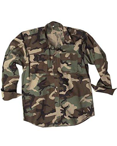 Original Miltec Feldhemd Army Hemd woodland 100% Baumwolle, L