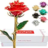 LovFaith Real Rose Dipped 24K Gold, Gift for Her Anniversary Valentines Day, Pearl Red Gold Rose Without Stand