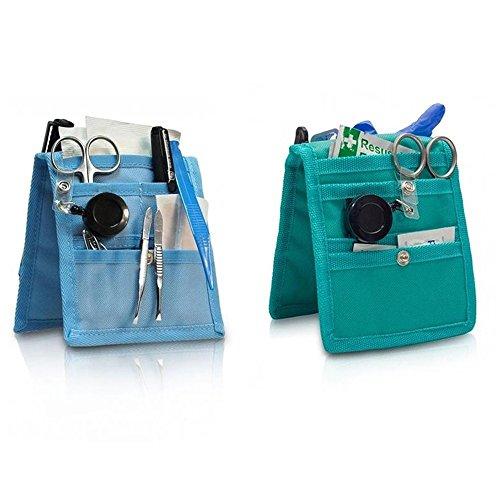 Pack 2 Salvabolsillos enfermera Keen's para bata o pijama, Colores: 1 verde y 1 azul, Lote ahorro, Medidas: 14,5 x 12 cm, Elite Bags