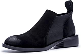 BalaMasa Womens Bucket-Style Warm Lining Solid Leather Boots ABM13615