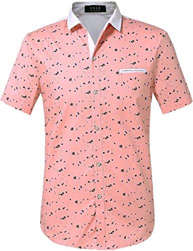SSLR Men's Printed Button Down Casual Short Sleeve Cotton Shirts (Large, Shrimp)