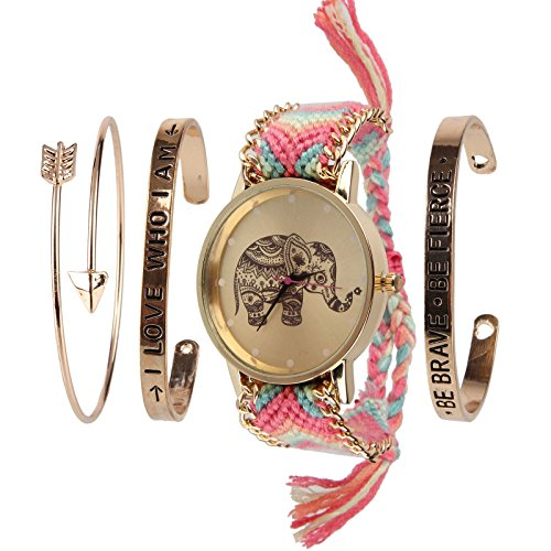 Beauty7 - Fasion Bohemian Stil Schmuckarmbanduhr Ethnisch Armband Armstreifen Bracelet Kuff kits - Modell 004