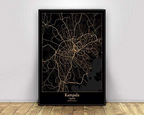 ZJMI Canvas druk Campala Uganda Zwart & Amp; Gold City Light Poster Custom Maps World Art Canvas Painting Wall Art voor woonkamer Home Decor Mode 20×30cm No frame