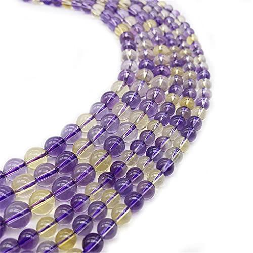Piedra natural claro púrpura amarillo citrino cuarzo gema ametrina jaspe perlas para joyería DIY haciendo pulsera collar púrpura 6mm aprox 63beads