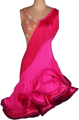 MoLiYanZi Robe de Gland de Danse Latine pour Les Femmes Couture de Couleur Danse Latine Costume de Perforhommece Professionnel Danse Latine Robes de Compétition Jupe en arête de Poisson