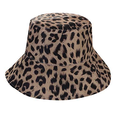 jfhrfged Hut Frau Leopardenmuster doppelseitiger Fischerhut Baumwollmütze Frau Korea Sonnenhut Lässiger Sonnenhut (Weiß)