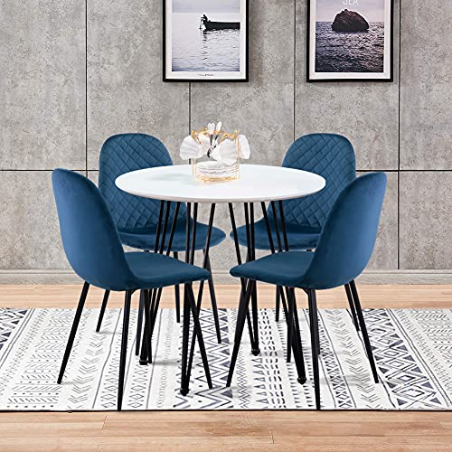 GOLDFAN Dining Table and 4 Chairs Retro Design Round Wooden Dining Table with Metal Legs Velvet Fabric Kitchen Chairs for Dining Room Living Room, Blue