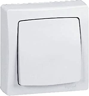 Legrand, 097340 Oteo - Interruptor de pared, interruptor conmutador de superficie, con marco en color blanco