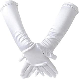 XinLin Du White Satin Gloves Princess Glove for Girl's Holiday, Wedding, or Pageant (Color : White, Size : M)