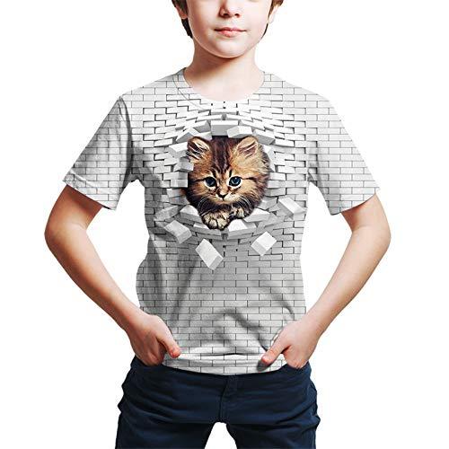 Kinder Kleinkind Jungen Active Street Chic Katze Geometrisch 3D Tier Print Kurzarm T-Shirt Weiß Gr. 140 cm, weiß