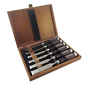 Narex 6 pc Set 6 mm  1/4  10  3/8  12  1/2  16  5/8  20  13/16  26  1-1/16  Woodworking Chisels in Wooden Presentation Box 853053