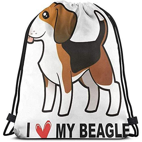 Dingjiakemao Aangepaste Trekkoord Tassen, Ik hou van Mijn Beagle 3D Print Trekkoord Rugzak Rugzak Schoudertassen Gym Bag Voor Volwassenen 36X43Cm