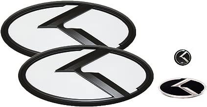 3D K Logo Emblem White & Black Edition Set 4pc Front + Rear + Steering Wheel + Mini Sticker (Fit: KIA Picanto , Morning)