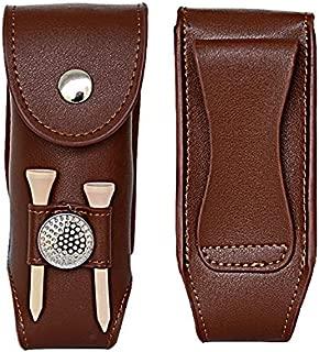 Floratek Golf Ball Holder - Leather Mini Carrying Golf Ball Bag Golf Tees Portable Pouch Belt Clip