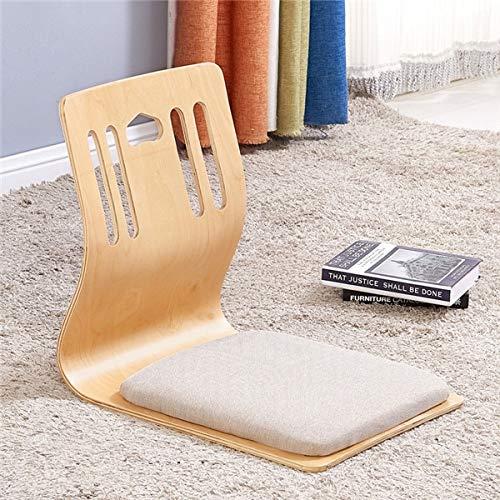 GYCOZ Silla japonesa sin piernas para decoración del hogar, hecha de madera contrachapada, muebles de sala de estar, estilo asiático, tradicional tatami piso, silla Zaisu (color: D)